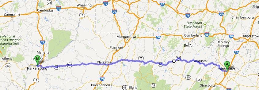 US Route In WV Twistypedia - Us route 50 map